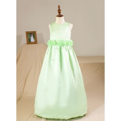 Ball Gown Floor-length Flower Girl Dress - Satin Sleeveless Scoop Neck With Flower(s) (Petticoat NOT included)