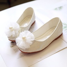 Jentas Round Toe Lukket Tå Leather flat Heel Flate sko Flower Girl Shoes med Blomst