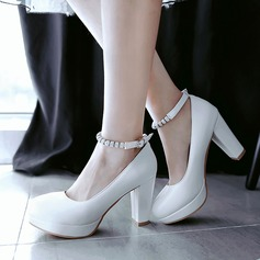 Women's Leatherette Chunky Heel Closed Toe Platform Pumps With Rhinestone