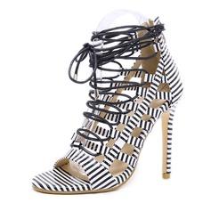 Frauen Kunstleder Stöckel Absatz Sandalen Absatzschuhe Peep Toe mit Reißverschluss Zuschnüren Schuhe