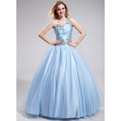 Ball-Gown One-Shoulder Floor-Length Charmeuse Prom Dresses With Ruffle Beading
