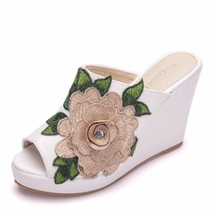 Women's Leatherette Wedge Heel Peep Toe Sandals Wedges With Flower
