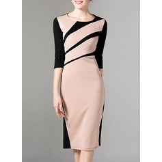 Polyester With Stitching Knee Length Dress (199133059)