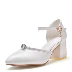 Frauen Kunstleder Stämmiger Absatz Sandalen Absatzschuhe Geschlossene Zehe Mary Jane mit Schnalle Schuhe