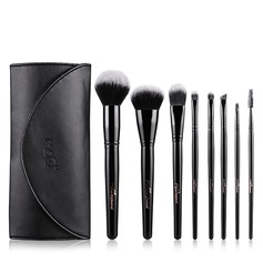 Artificial Fibre Unique 8Pcs Black PU Bag Makeup Supply
