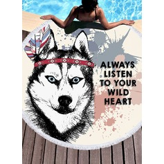 dog Oversized/round Beach towel