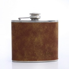 Personalized Brown Stainless Steel/Leatherette Flask