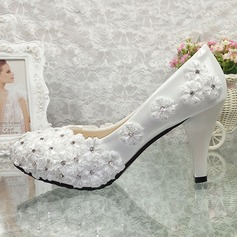Women's Patent Leather Stiletto Heel Closed Toe Pumps With Rhinestone Stitching Lace Flower Applique
