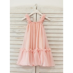 A-Line/Princess Knee-length Flower Girl Dress - Chiffon Sleeveless Straps With Flower(s)
