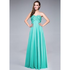 Empire Sweetheart Floor-Length Chiffon Prom Dress With Beading Flower(s) Sequins