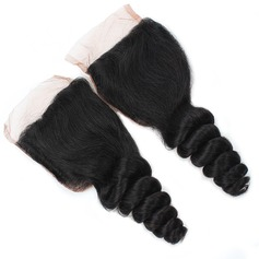 "3A 4""*4"" Loose Wavy Mid-Length Long Human Hair Closure (Sold in a single piece) 100g"