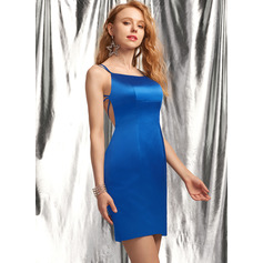 Sheath/Column Square Neckline Short/Mini Satin Homecoming Dress