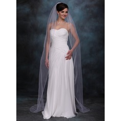 One-tier Chapel Bridal Veils With Pencil Edge
