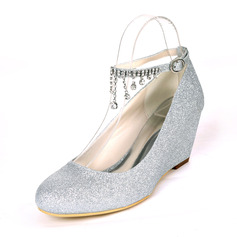 Women's Sparkling Glitter Wedge Heel Pumps Wedges With Rhinestone
