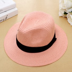 Unisex Classic Rattan Straw With Flower Beach/Sun Hats