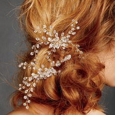 Ladies Exquisite Rhinestone/Alloy Hairpins With Venetian Pearl (Sold in single piece)
