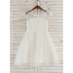 Knee-length Flower Girl Dress - Tulle Lace Sleeveless Scoop Neck (269204647)