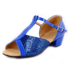 Women's Sparkling Glitter Sandals Latin With T-Strap Dance Shoes