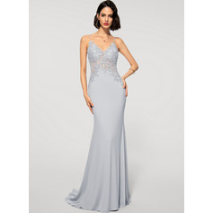 Trumpet/Mermaid V-neck Sweep Train Lace Jersey Evening Dress