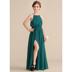 A-Line Square Neckline Floor-Length Chiffon Junior Bridesmaid Dress With Split Front
