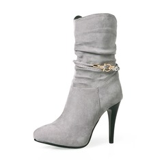Women's Suede Stiletto Heel Pumps Boots Mid-Calf Boots With Rhinestone Zipper shoes