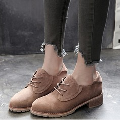 Women's Suede Chunky Heel Flats Ankle Boots shoes