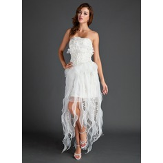 A-Line/Princess Strapless Asymmetrical Organza Lace Holiday Dress With Beading (020025971)