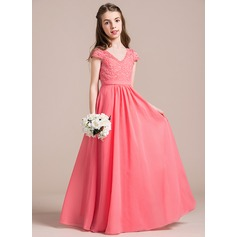 V-neck Floor-Length Chiffon Lace Junior Bridesmaid Dress (268193396)