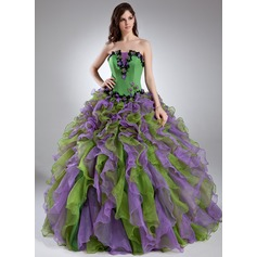 Ball-Gown Scalloped Neck Floor-Length Organza Quinceanera Dress With Beading Appliques Lace Flower(s) Cascading Ruffles (021015944)