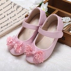 Girl's Leatherette Flat Heel Closed Toe Flats With Bowknot Rhinestone