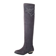 Suede Low Heel Over The Knee Boots With Rhinestone shoes