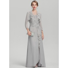 A-Line/Princess Scoop Neck Floor-Length Chiffon Lace Mother of the Bride Dress With Split Front Cascading Ruffles