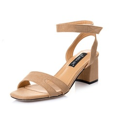 Women's Suede Chunky Heel Sandals Slingbacks shoes