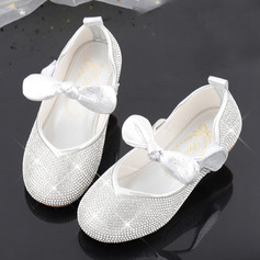 Girl's Round Toe Sparkling Glitter Flower Girl Shoes With Beading Bowknot Crystal