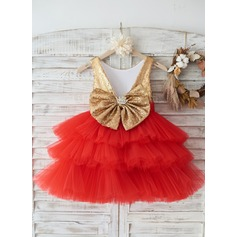 Gold Sequin Red Cupcake Tulle Deep V Back Wedding Flower Girl Knee-length Dress Holiday Party Dress