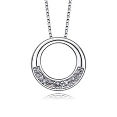 Ladies' Shining S925 Sliver With Round Cubic Zirconia Necklaces For Bride/For Bridesmaid/For Friends