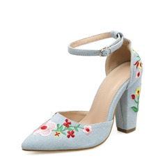 Women's Canvas Chunky Heel Pumps Closed Toe With Buckle Flower shoes