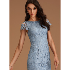 Round Neck Dusty Blue Lace Dresses (293250212)