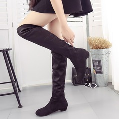 Women's Suede Low Heel Closed Toe Boots Over The Knee Boots shoes