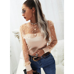 Regular Cotton Blends Round Neck Beaded Solid Fitted Blouses (1003256719)