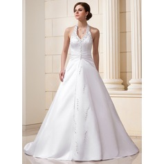 A-Line/Princess Halter Chapel Train Satin Wedding Dress With Ruffle Beading Sequins