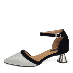 Women's Leatherette Spool Heel Sandals Closed Toe With Buckle shoes