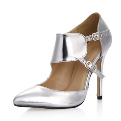 Patent Leather Stiletto Heel Pumps Closed Toe With Buckle shoes