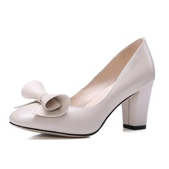Women's Real Leather Chunky Heel Pumps Closed Toe shoes
