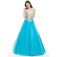 Ball-Gown Strapless Floor-Length Tulle Prom Dresses With Beading Sequins