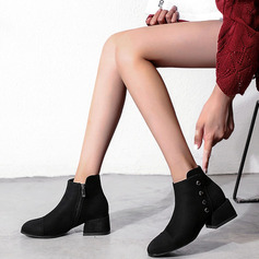 Women's Suede Chunky Heel Ankle Boots Round Toe With Rivet Zipper shoes