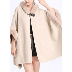 Solid Color Cold weather Polyester Poncho (204189021)
