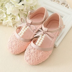 Girl's Real Leather Flat Heel Flats Flower Girl Shoes With Beading Bowknot