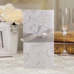 Floral Style Z-Fold Invitation Cards With Bows  (114039004)