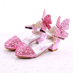 Girl's Closed Toe Leatherette Flat Heel Flats Flower Girl Shoes With Bowknot Buckle Sparkling Glitter